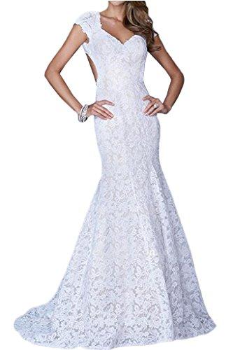 La_mia Braut Sexy Spitze Schulterfrei Kurzarm Meerjungfrau Abendkleider Partykleider Promkleider Festlichkleider Neu Weiß