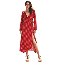Kobay Women Dresses,Ladies Long Sleeve V-Neck Dot Pattern Fashion Colid Color Dress