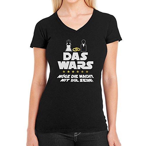 Shirtgeil JGA Junggesellinnenabschied Party Das Wars mit Ihr Damen T-Shirt V-Ausschnitt Small Schwarz (Lustige Star Wars Kostüm Ideen)