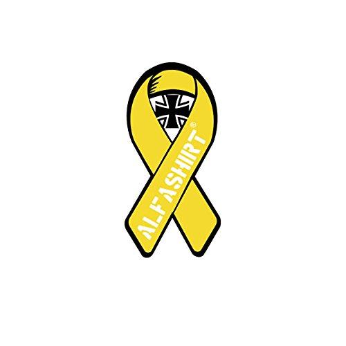 Aufkleber / Sticker - gelbe Solidaritätsschleife Bundeswehr BW ALFASHIRT Schleife Yellow Ribbon Soldaten Zeichen Auslandseinsatz Auto Reservist 3x7cm #A4280 (Ribbon Armee Yellow)