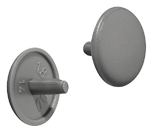 Gedotec Schrauben-Abdeckungen grau RAL 7037 Möbel-Abdeckkappen Kunststoff Schrauben-Kappe rund   H1115   Verschluss-Stopfen für Kopflochbohrung PZ2   Ø 12 x 2,5 mm   100 Stück