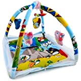 CHOTE USTAD Baby Bedding Set With Mosquito Net And Play Gym With Hanging Toys (Blue)