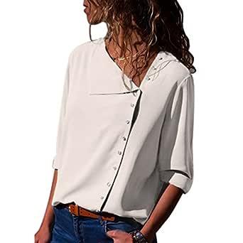 Alician Women Long-Sleeve Shirt with Oblique Collar Elegant Blouse