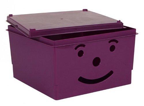 Spielzeugkiste Smiley 30x30x18cm in verschiedenen Farben, Farbe:Pink