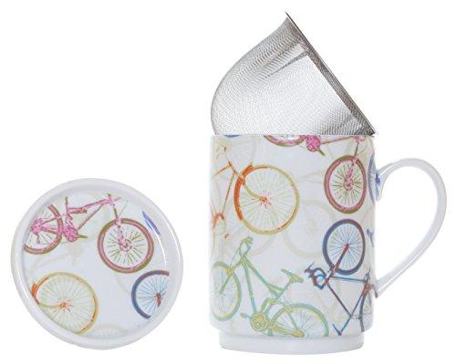 La Cija Bicis - Tazza in porcellana con filtro in acciaio Inox, colore: Bianco