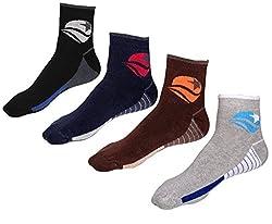 Indiweaves Mens Cotton Socks (Pack of 4 Socks)-Black/Blue/Brown/Grey