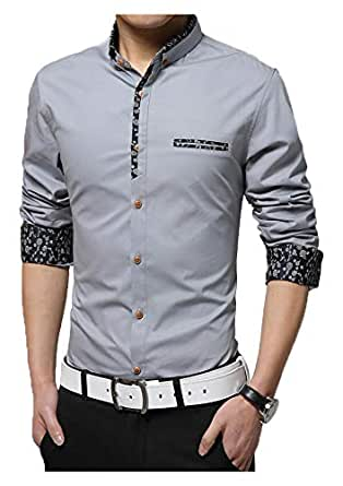 IndoPrimo Men's Cotton Casual Fancy Shirt for Men Full Sleeves (Grey, Small - 38)