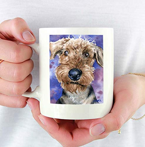 Airdale Terrier Custom 11oz Mug with Dog Art Featuring Watercolor Printed Coffee Mug Dog Lover Mug