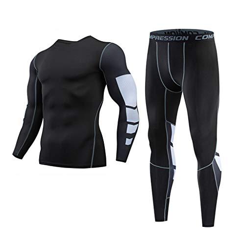 Schwarz Fischgräten-anzug (Setsail Herren Casual Outdoor-Sets Fitness schnell trocknende elastische Lange Ärmel Lange Hosen Sportanzug)