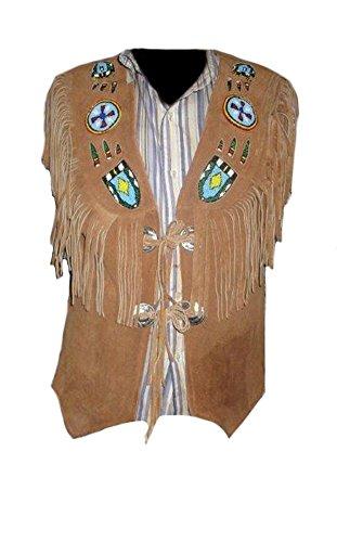 Classyak cowboy da uomo moda gilet con frange e ossa, alta qualità, xs-5x L Suede Brown XXXXX-Large