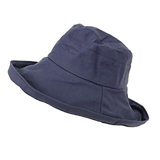 NaiCasy UV-Schutz Hut Packable UPF Stroh Sonnenhut Frauen Sommer Strand im Freien Breiter Krempe Fedora Travel Hat Travel Pack in der Lage Cap 1 Stück Marineblau