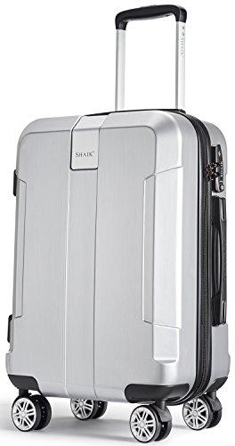 SHAIK® Serie ICEBERG, SFO Größe M Handgepäck Boardgepäck Koffer, 32 Liter TSA Schloss, (Silber, Handgepäck) (Hardside Gepäck Silber)