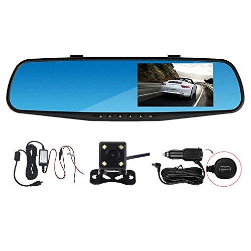 Panlelo®PAC30P 4.3 Zoll Auto Dual Dash Cam Car Video Recorder DVR Dual Lens Front & Reversing Kamera Video Aufnahme mit LCD HD Blau Bildschirm Vehicle Rückspiegel (Auto Dash Cam Spiegel)