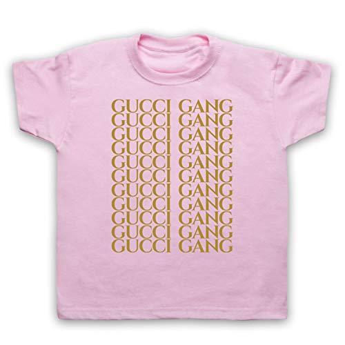 Inspired Apparel Inspiriert durch Lil Pump Gucci Gang Gold Print Inoffiziell Kinder T-Shirt, Hellrosa, 2-3 Jahren