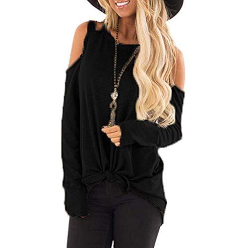Itisme donna maglioni donna, t-shirt a maniche lunghe con bottoni laterali e scollo tondo a manica lunga