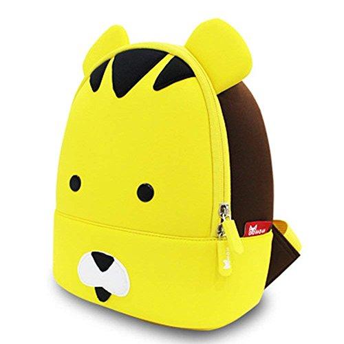 Nettes Tier personifizierte Kindergelbes Tiger-Minikarikatur scherzt Rucksack Jungen-Mädchen, Kleinkind-Rucksack-Umhängetaschen für 2-8 Jahre alte Kindergeschenke für Vorschule oder im Freien