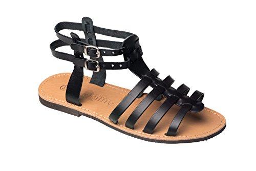 Römer Damen und Herren Sandalen Leder Beige Römersandalen Riemchen Sandale 36 - 47 Viele Größen Schwarz