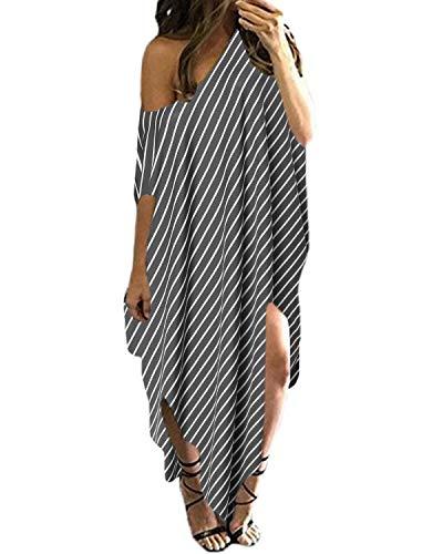 Kidsform Damen EIN Schulter Kleid Sommer Strandkleid Langes Streifen Maxikleid Streifen EU 36/Etikettgröße XS -