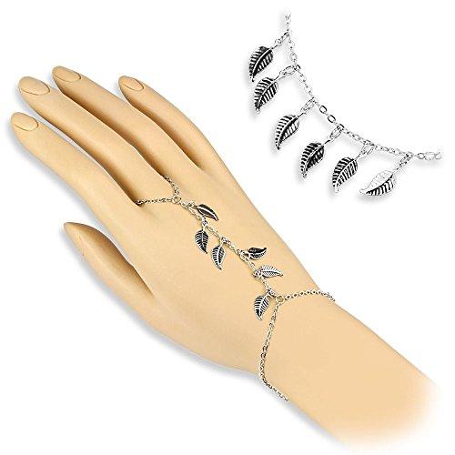 Bungsa® Handkette silber mit Blätter Charms für Damen (Armband Fingerring Fingerkette Handschmuck Slave- Kette Leaf) (Blatt-highlights)