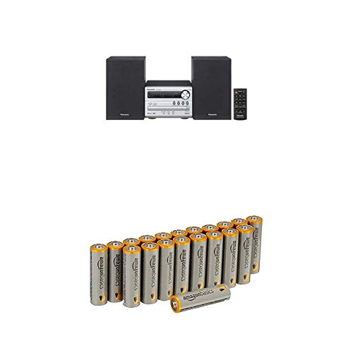 SC-PM250EG-S (20 Watt RMS, CD,UKW, Bluetooth) silber mit AmazonBasics Batterien ()