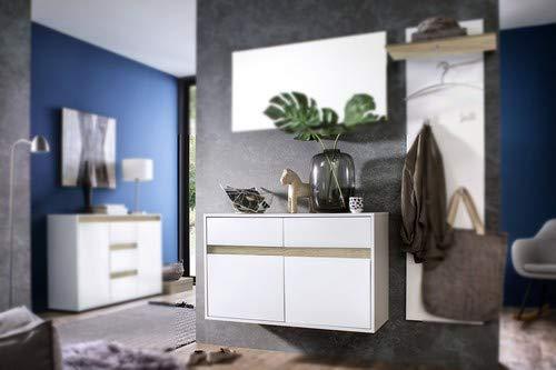 trendteam smart living Garderobe Hängeschuhschrank Schuhschrank Schuhkommode Sol, 97 x 60 x 35 cm in Korpus Weiß, Front Weiß Hochglanz Lack mit Wechselblende in Grau und Alteiche