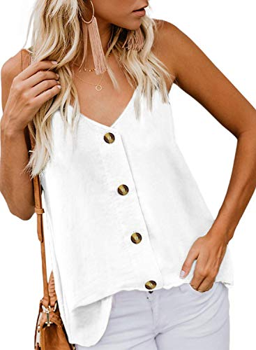 KOKOUK Womens Summer Sleeveless V-Neck Blouse Casual Adjustable Spaghetti Straps Vest Tank Tops S-XXL - Lace Trim Chemise Rose