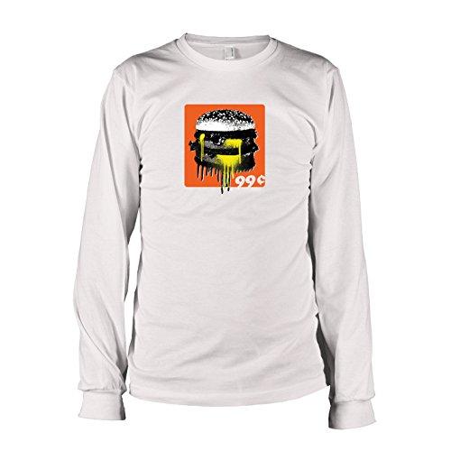 Krysom - 99c Burger - Herren Langarm T-Shirt, Größe XXL, weiß