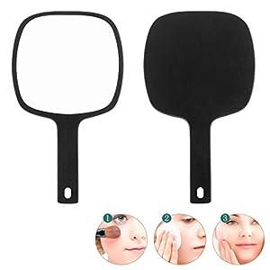 RONG MIRROR Espejo de Maquillaje de Mano Espejo de tocador, niña Peluquería Espejo de Mano Espejo de vanidad Espejo de Pared para aplicar Maquillaje/Sombra de Ojos/lápiz Labial,Marrón,17cm