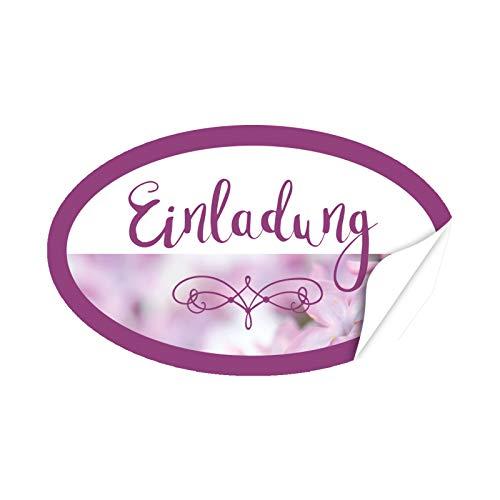 20 x ovale Design Aufkleber Einladung mit Foto Rosa - Format ca. 8 x 5 cm - Edle Etiketten/Sticker mit Motiv modern im Set