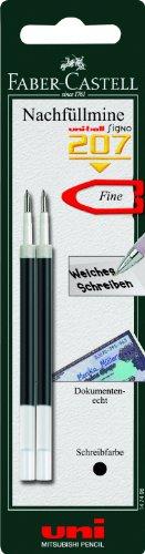 Faber-Castell 147498 - Confezione da 2 ricariche per penna roller uni-ball Signo 207, 0,4 mm, colore: Nero