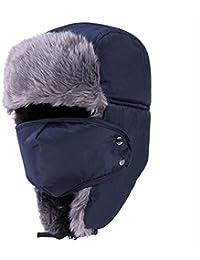 Unisex Hiver Imperméable Peluche Trappeur Chapka Aviateur Ski Chapeau Amovible Masque Respiratoire Casquettes Anti-vent Anti-poussière Chaud