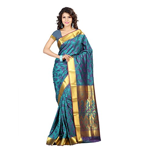 Varkala Silk Sarees Women\'s Art Silk Kanchipuram Saree With Blouse Piece(JP8106RMV_Teal Blue_Free Size)