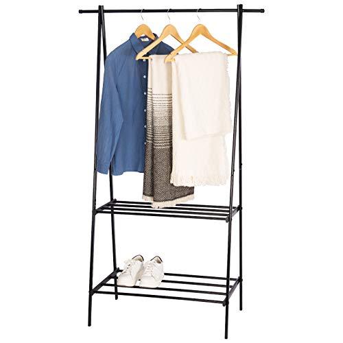 WOLTU Kleiderständer Garderobenständer Kleiderstange mit 2 Metallablagen für Schuhe, Schwarz, ca. 68x43x149cm(BxTxH) SR0067