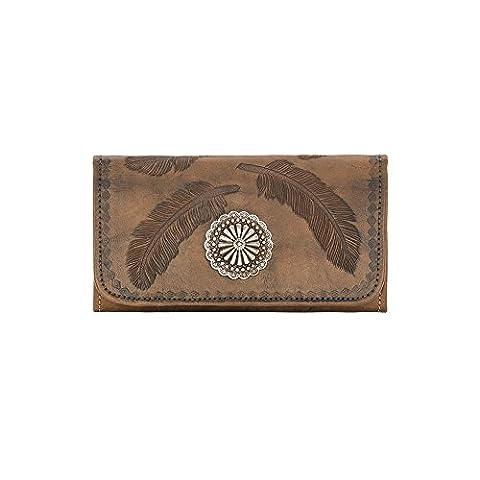 American West Leather Ladies' Tri-Fold French Wallet Bundle Purse Light (Sacret Bird - Charcoal Brown)