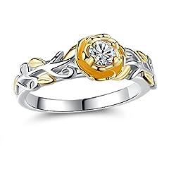 Idea Regalo - Oneck donna anello 18K placcato platino solitario in zirconia regalo per matrimonio, fidanzamento anelli Anello, 18ct base metallo placcato oro, 56 (17.8), cod. K0034-7