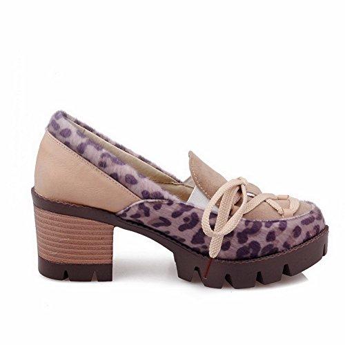 VogueZone009 Femme Matière Souple Tire Rond Couleurs Mélangées Chaussures Légeres Abricot