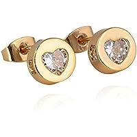 Love Beautiful Jewelry - Orecchini a perno in oro giallo da donna, con zirconia cubica a forma di cuore, idea regalo