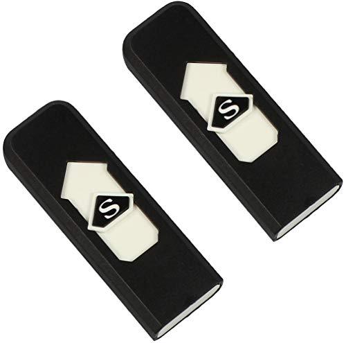 com-four® 2 USB Feuerzeuge, elektrisch, ohne Flamme, Zigaretten Sturm-Feuerzeug, wiederaufladbar (02 Stück - schwarz)