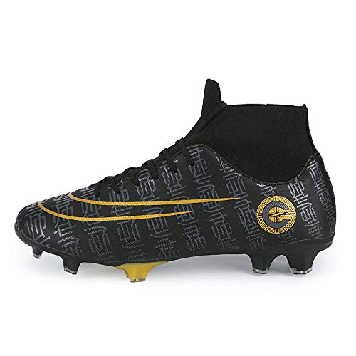 Scarpe da Allenamento con Punte da Calcio Che volano in Tessuto Alto Aiuto per Giovani Adulti Indossano Scarpe da Calcio Nere 38