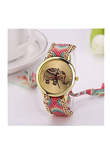 Malloom® Frauen Elefant Muster Weaved Seil Band Armband Quarz Zifferblatt Uhr (rosa) (Weihnachten Seil Spielzeug)