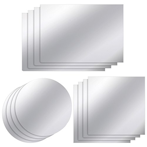 12 Stück Spiegelplatten Spiegel Wandaufkleber Nicht Glas Kunststoff Spiegelfolie für Heimtextilien, 3 Formen