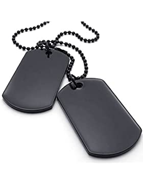AnaZoz Edelstahl Tag Anhänger 2pcs Dog Link Halskette Army Schwarz Herrenmodeschmuck