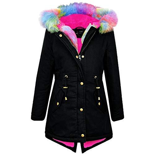 A2Z 4 Kids® Kinder Mädchen Mit Kapuze Jacke Designer Regenbogen Pelz - Parka Jacket Rainbow Fur Black 9-10 (Schwarzer Wintermantel Mädchen Für)