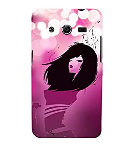 Pink Love Fashion Girl 3D Hard Polycarbonate Designer Back Case Cover for Samsung Galaxy Core 2 G355H