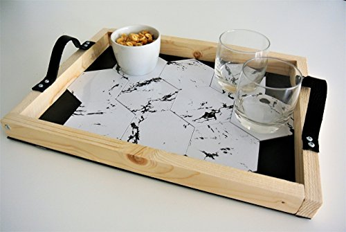 Aperitif Tablett mit integrierten Gläsern, geometrische Muster, Marmor-Finish -