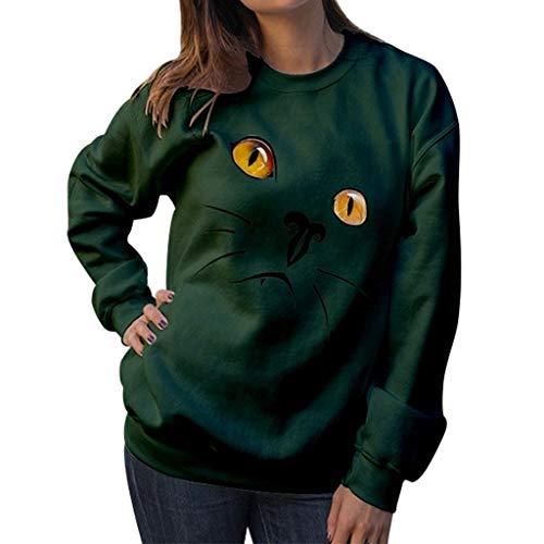 Frauen Nette Katze drucken Sweatshirt Rundhalsausschnitt Langarm-Bluse niedliche Karikaturdruck Sweatshirt Pullover Tunika Bluse LSAltd Plus Größe S-2XL 2018