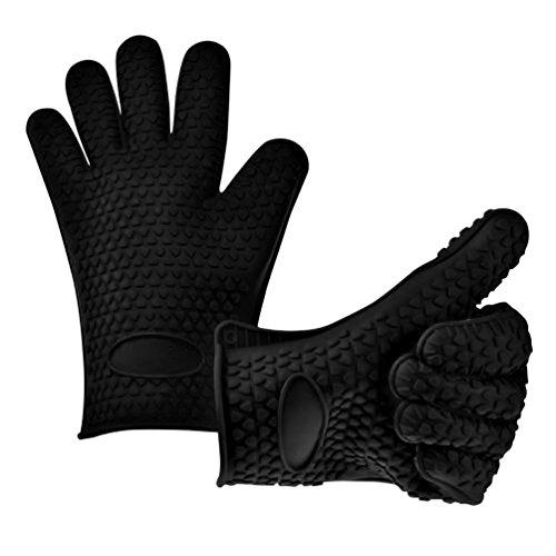 Fieans Hitzebestaendige Kitchen Silikon Grillhandschuhe Topflappen BBQ-Handschuhe Kochhandschuhe-Schwarz