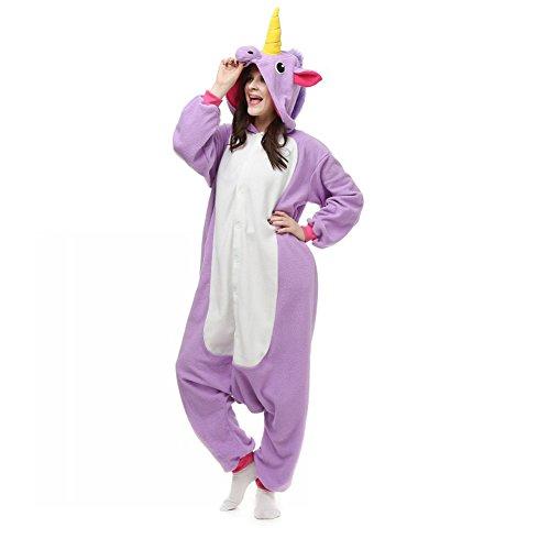 Pyjama Licorne Violet Combinaisons Animaux Femme Homme Grenouillère Kigurumi Adulte Pyjamas Costume Onesie M