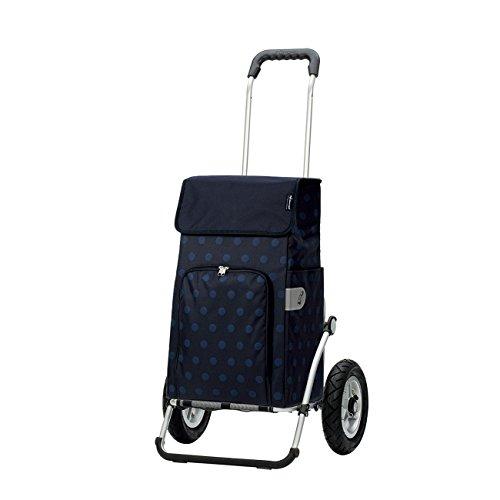 Andersen Original Royal Shopper mit Tasche Lizzy Blau, Einkaufstrolley mit luftbereiften Rädern