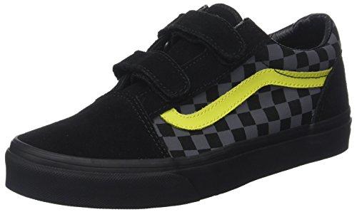Vans Unisex-Kinder Old Skool V Suede Sneaker, Mehrfarbig (Checkerboard/Asphalt/Reflective), 35 EU